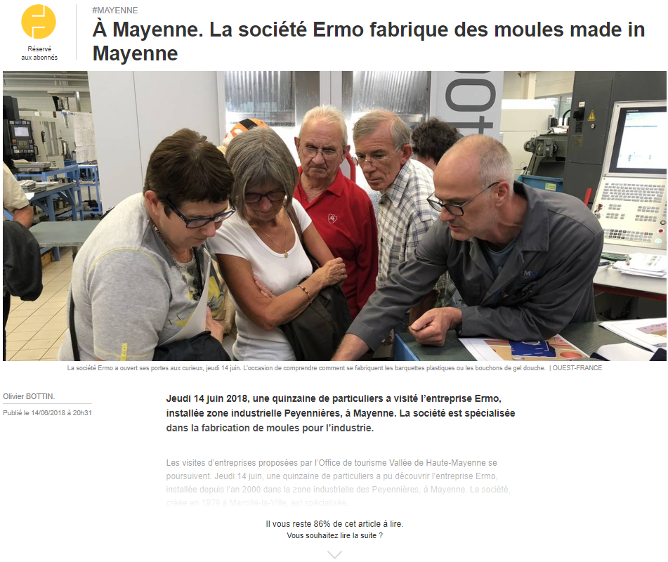 OUEST FRANCE annonce ERMO